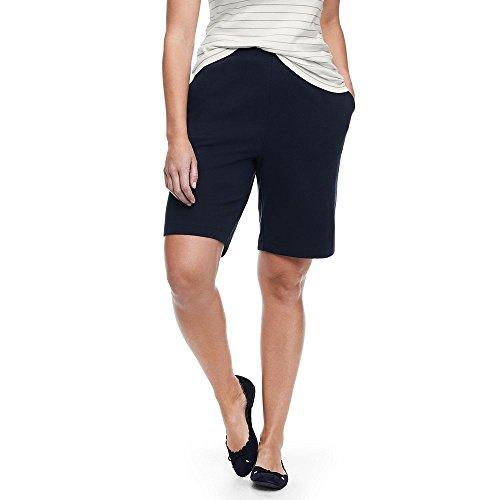 Lands' End Women's Plus Size Sport Knit Shorts, 1X, Classic Navy