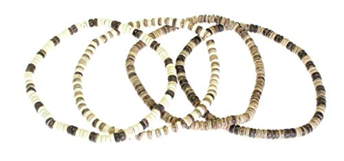 - NG Set Of 4 - Coco Wood Bead Elasticated Surfer Style Choker Necklaces - 40 cm (16 Inches) - SET STYLE A