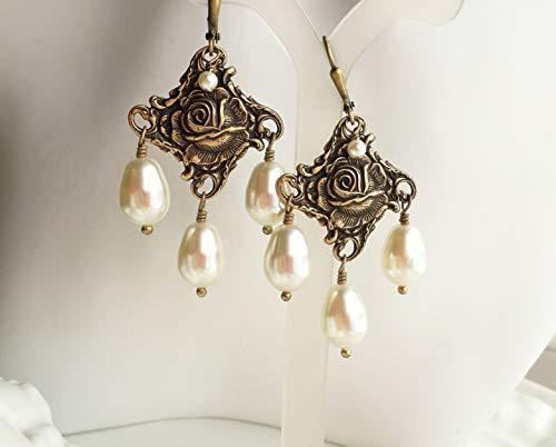 Nouveau Brass Chandelier - Cream Swarovski Pearl Art Nouveau Renaissance Brass Chandelier Earrings
