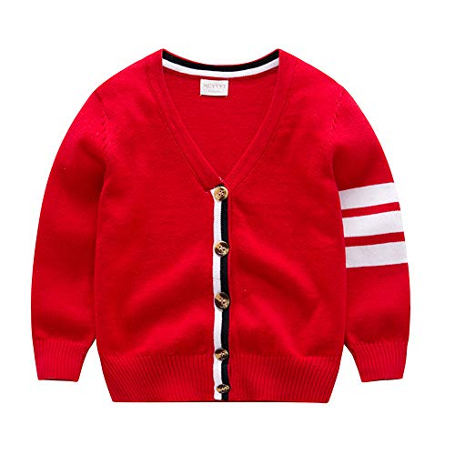 Baby Boy Girl Sweater Children Cardigan Button-Down Coat 100% Organic Cotton Outfit Long Sleeve V-Neck Jacket Spring Crochet Top 2-3T (Red, ()