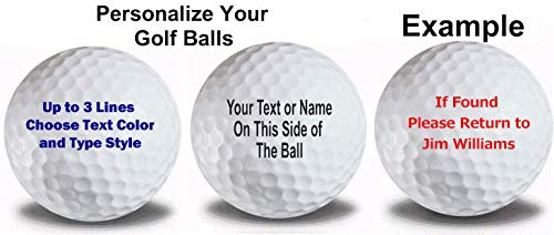 Personalized Text on White Golf Balls 12 Pack ()