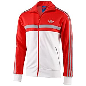 Adidas Icon Men's Track Top White/Red f80677 (Size 4X)
