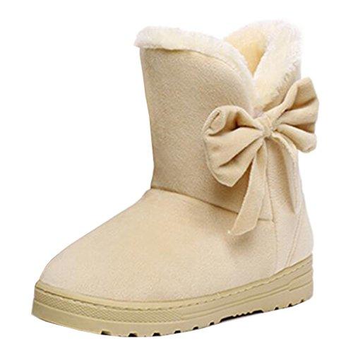 Binying Women's Bowknot Flat Slip-on Fur Snow Boots Beige gkvIe