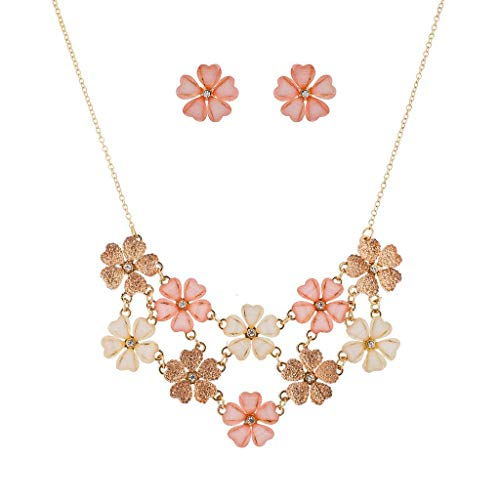 (Lux Accessories Ivory Peach Glitter Flower Floral Statement Necklace Earring Set )
