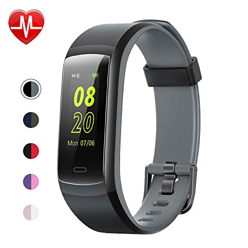 Fitness Tracker,YAMAY Fitness Watch Heart Rate Monitor Activity Tracker,Color Screen Dual-Color Bands IP68 Waterproof,with Step Counter Sleep Monitor 14 Sports Tracking for Women Men Kid (Black-Gray)