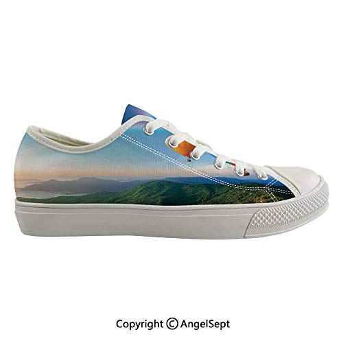 Durable Anti-Slip Sole Washable Canvas Shoes 16.53inch Hot Air Balloon Flying Lovely Mountain Side with Clear Sky and Rainbow Decorative,Sky Blue Multicolor Flexible and Soft Nice -