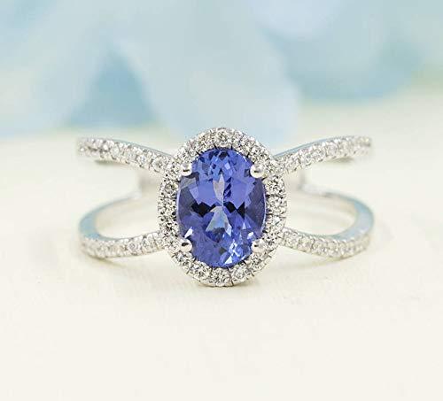 8x6mm Natural Oval Tanzanite Engagement Ring, Tanzanite Diamond Halo Engagement, Unique Diamond Ring