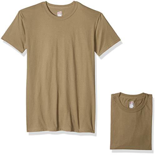 Soffe Men's 100% Soft Spun Cotton Short Sleeve T-Shirt 3 Pack, tan, - Tee Short Layer Crew Sleeve
