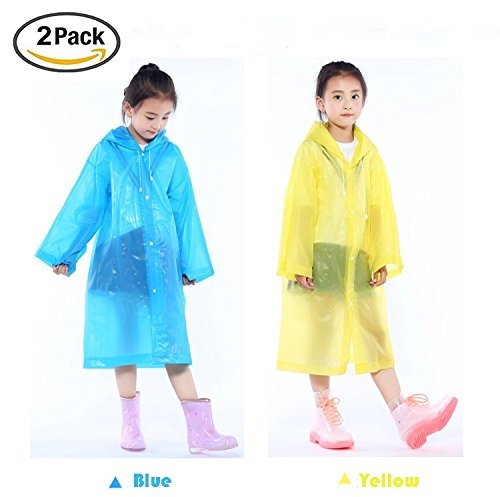 - Unisex Rain Poncho for Kids-Reusable Packable Durable Lightweight Active Outdoor Children's Hooded Poncho Cloak Raincoat Rain Jacket Rain Wear for 6-12 Years Old Girls and Boys-Blue and Yellow