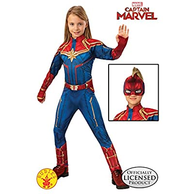 Rubie's Captain Marvel Children's Deluxe Hero Suit, Small 700597, Blue/Red: Toys & Games