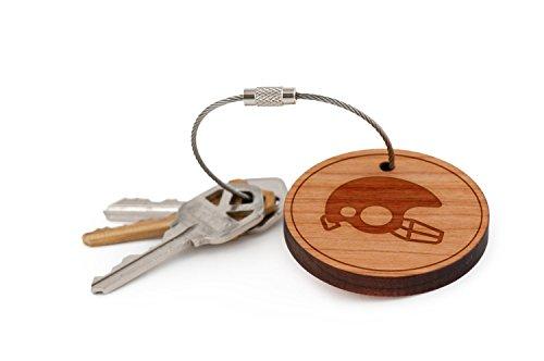 Football Helmet Keychain, Wood Twist Cable Keychain - -