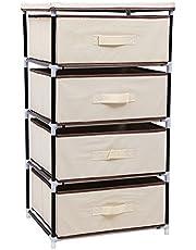 SONGMICS 4-Drawer Wardrobe, Multiple-Purpose Cabinet, Storage Tower, Organiser Unit, 45 x 38 x 84.5 cm, Black RLG14H