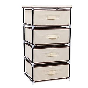 Songmics 4 Drawer Beige DIY Storage Wardrobe Cabinet Multiple- Purpose Storage Unit 84.5 cm RLG14M