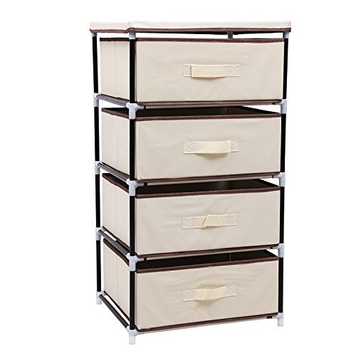 SONGMICS 4 Drawer Beige DIY Storage Wardrobe Cabinet Multiple  Purpose Storage  Unit 84.5 Cm RLG14M: Amazon.co.uk: Kitchen U0026 Home