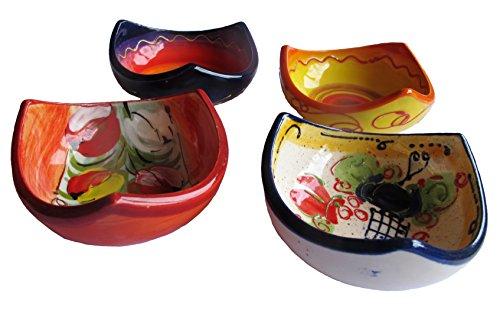 Corner Tapa Bowls - Set of 4 Designs - Hand Painted in Spain ()