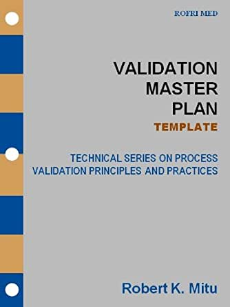 Validation Master Plan  Template Technical Series On Process