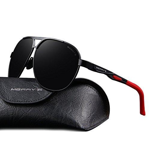 f72f1b07ff4 MERRY S Men Classic Brand HD polarized Sunglasses Aluminum Driving Sun  glasses S8611 (Black