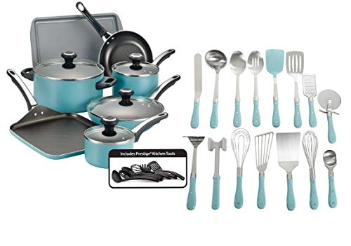 Farberware High-Performance Nonstick Aluminum 17-Piece Cookware Set, Aqua bundle with The Pioneer Woman Frontier Collection 15-Piece All In One Tool and Gadget Set, Turquoise