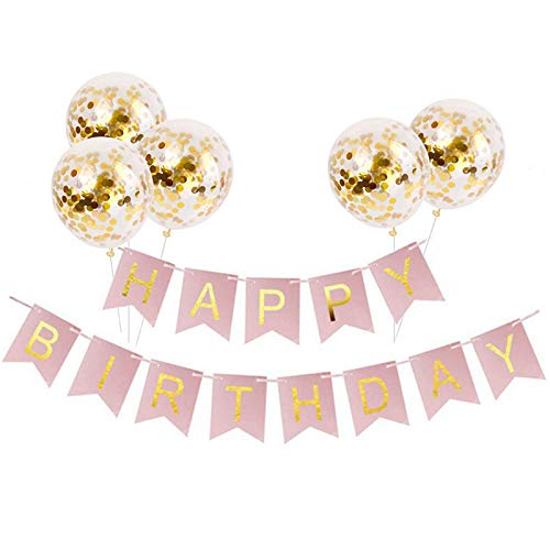 (Tellpet Pink HAPPY BIRTHDAY Banner with 5 pcs Gold Confetti Balloons)