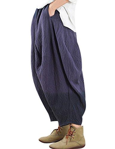 Youlee Profondo Elastica Vita Blu Gambe Donne Pantaloni Grandi Harem fq1frg