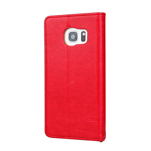 TechCode Galaxy S9+ Book Cover, Dual Layer Design Premium PU Leather Flip Case Vintage Fashion Smart Stand Cover Lightweight Wallet Sleeve with Credit Card Slots For Samsung Galaxy S9 plus 6.2''(Red) by TechCode (Image #2)