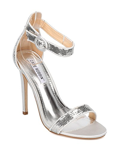 CAPE ROBBIN Women Sequinned Stiletto Sandal - Wedding, Formal, Prom, Dance, Party, Dressy, Bridesmaid - Ankle Strap Stiletto Heel - Minimalist Stiletto Heel - HA08 by Silver Mix Media