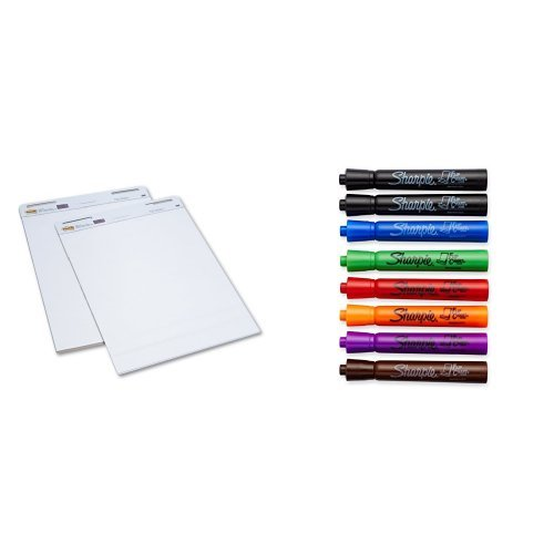 Post-it Self-Stick Easel Pad, 25 x 30.5 Inches, 30-Sheet Pad (2 Pack) and Assorted 8 Pack of Sharpie Flip Chart Markers (Flip Chart And Stand)