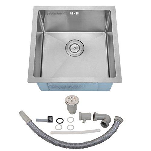 Voilamart 17' x 17' Single Bowl Handmade Stainless Steel Kitchen Sink 19 Gauge - Undermount Topmount Flushmount - Laundry Utility Sink