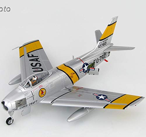 Hobbymaster Hobby Master F-86E Sabre FU-760 Flown by Charles Chick Cleveland 4th Fighter Wing Korean War Pilot Autograph on Plate 1/72 diecast Plane Model Aircraft