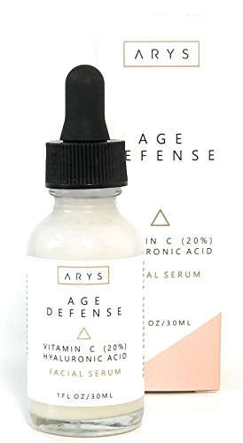 Arys Vitamin C Serum 20% Age Defense formula with Hyaluronic Acid, Vitamin E, Aloe Vera and Jojoba Oil - For Bright, Firm and Young Skin (1fl. - Radical Defense Anti Age