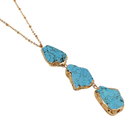 Rosemarie Collections Women's Turquoise Color Natural Stone Long Pendant Necklace