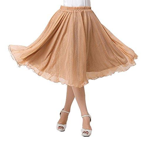 OCHENTA Femme Jupe Basic A Genou Casual En Mousseline de Soie Skirts Kaki