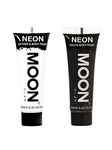 Moon Glow Monochrome Face & Body Paint Halloween Party 2 x 12ml Black & White