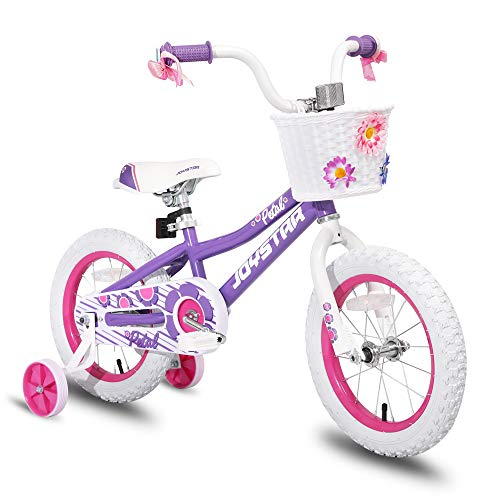 JOYSTAR 16 inch Kids Bike for 3 4 5 Years Girls, Child Bicycle with Training Wheels & Basket & Streamer, Purple Toddler Cycle