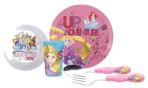 Zak! Designs Kids Mealtime Set Includes Plate, Bowl, Tumbler Cup, Fork & Spoon Set! Featuring Disney Princess Graphics! BPA-free, 5 Pc - Disney Dinnerware Set Princess