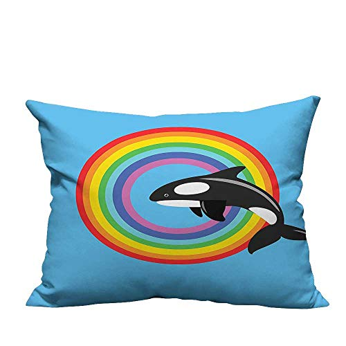 YouXianHome Decorative Throw Pillow Case Modern Design with a Killer Whale Jumping into a Circle Made from Rainbow Ideal Decoration(Double-Sided Printing) 13x17.5 inch -