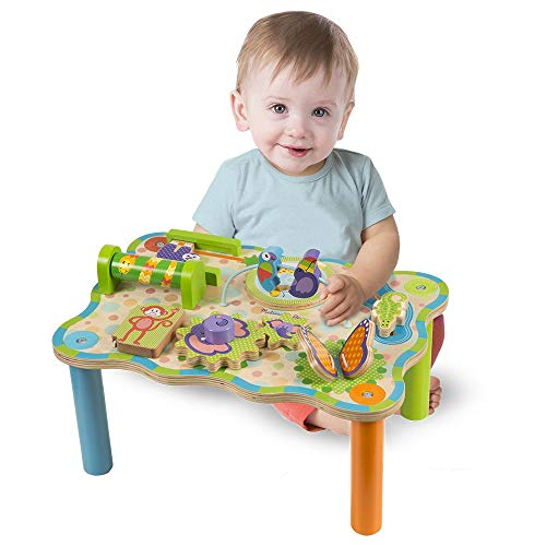 41aDW4PGO L - Melissa & Doug First Play Children's Jungle Wooden Activity Table for Toddlers