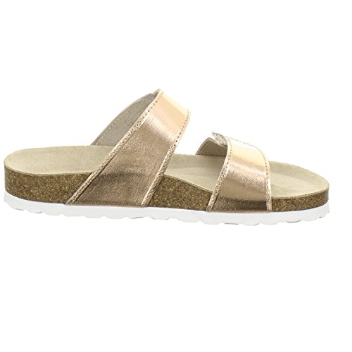 AFS-Schuhe 2104, Pantolette Damen Komfort, Bequeme Hausschuhe, Hochwertiges. Echtes Leder, Made in Germany Größe 41 Rot (Kupfer)