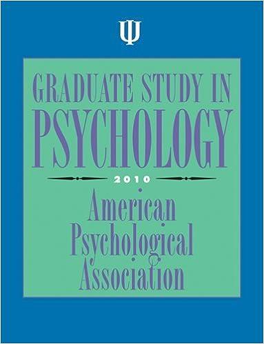 Graduate Study in Psychology 2010: Amazon co uk: American