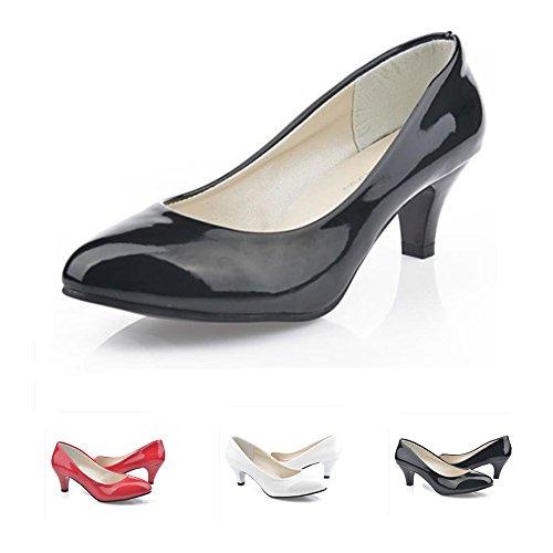 RVROVIC Women Shoes Closed Toe Kitten Heel Pumps for Dress Work Party (Toe Heel Pump Medium Round)