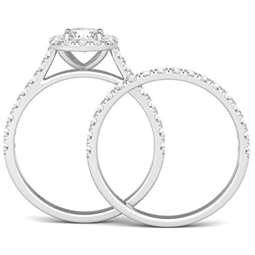 Diamond Studs Forever 14K White Gold Diamond Halo Wedding Ring Set