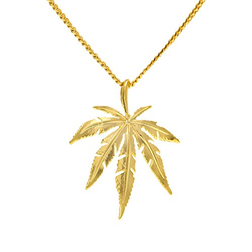 JAJAFOOK Men's Stainless Steel Necklaces Marijuana Weed Leaf Pendant Necklace with 23.6 Inch Chain