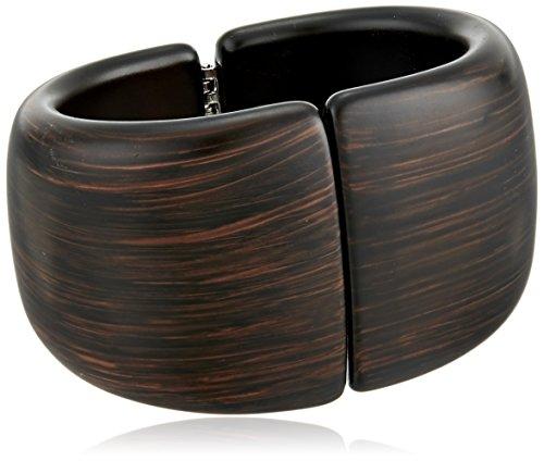 Hinged Closure (Kenneth Jay Lane Dark Wood Front Closure Hinged Cuff Bracelet)