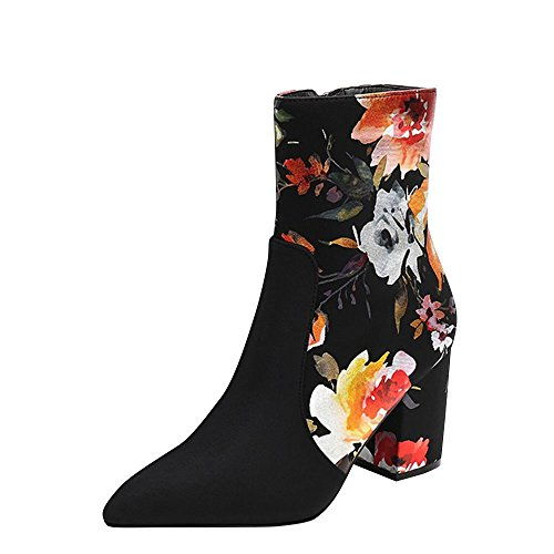Mackin J Womens Pointy Toe Multi Floral Print Med High Chunky Heel Ankle Boots Booties 7 Black Multi