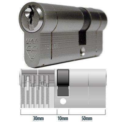 Anti-Snap Euro Cylinder Door Lock Barrel 30-10-50 (90mm) Nickel - TS007 by HomeSecure