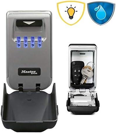 MASTER LOCK Schlüsseltresor mit beleuchteten Zahlenrädern [Medium] [Wetterfest] - 5425EURD – Schlüsselsafe