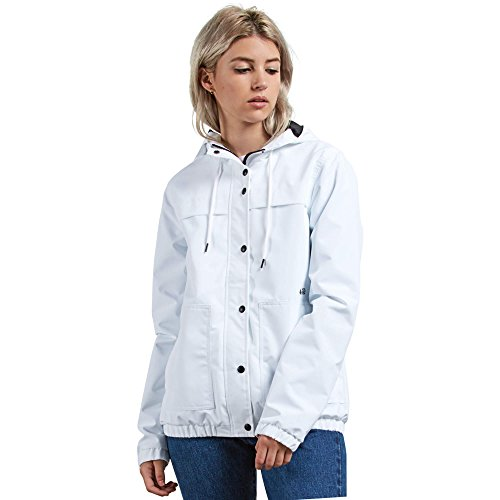 - Volcom Junior's Enemy Stone Hooded Zip Front Windbreaker Jacket, White, Extra Large