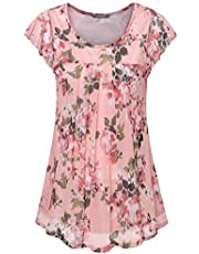 Furnex Women's Short Sleeve Tunics Shirt Floral Pleated Front Mesh Blouses Tops
