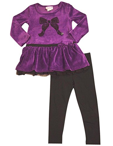 Velour Dress Set (Flapdoodles - Little Girls's Long Sleeve Velour Dress Set, Dark Violet, Black 31481-4)
