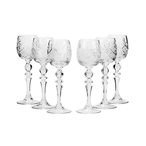Set of 6 Neman Glassworks, 2-Oz Hand Made Vintage Russian Crystal Shot Glasses on a Stem, Vodka or Liquor Old-fashioned Glassware